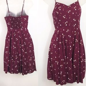 Old Navy spaghetti strap burgundy floral dress S